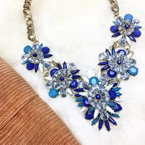 Jewelry - White and Blue Gem Statement Necklace